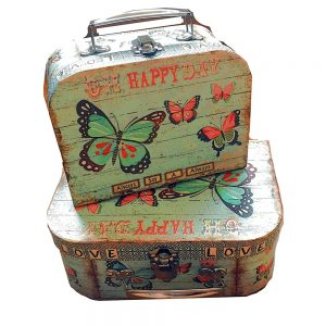 Set 2 valize vintage Happy Day cutii cadou bleu fluturi