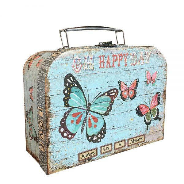 Cutie de cadou Happy 25x18x9cm valiza vintage