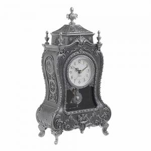 Caseta muzicala Victoria argintiu antichizat ceas cu pendul vintage