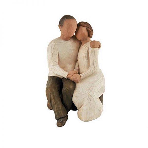 Figurina decorativa cuplu indragostiti Tenderness 15cm statueta rasina