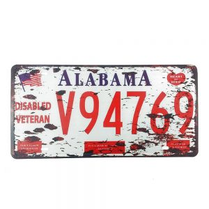 Numar auto decorativ placa metalica vintage Alabama 30x15cm