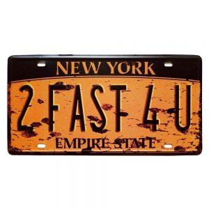 Numar auto decorativ placa metalica vintage New York 30x15cm