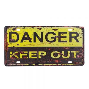 Placa metalica decorativa Danger Keep Out semn vintage 30x15cm