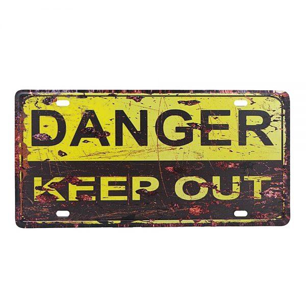 Placa metal vintage Danger numar auto