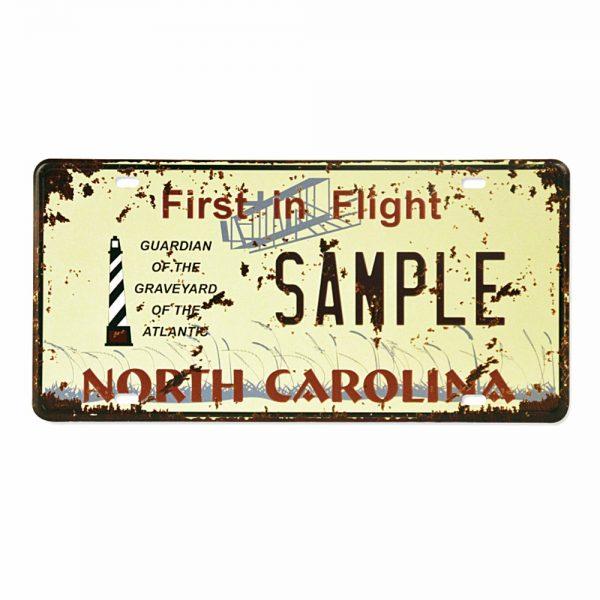 Placa metalica vintage North Carolina