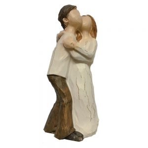 Figurina decorativa cuplu indragostiti Cheek Kiss 15cm statueta rasina