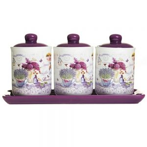 Set 3 borcane alimente Provence cu lavanda recipiente bucatarie