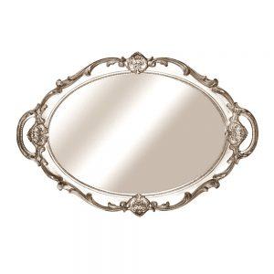 Tava oglinda vintage argintiu tava bijuterii cosmetice servire Oscar
