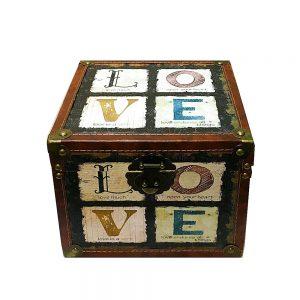Cufar din lemn Hope vintage cutie depozitare 28x28x22.5cm