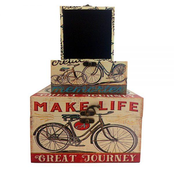 Set 2 cufere lemn vintage Bicycle cutii depozitare decorative