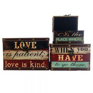 Set 3 cufere lemn vintage Love cutii depozitare decorative