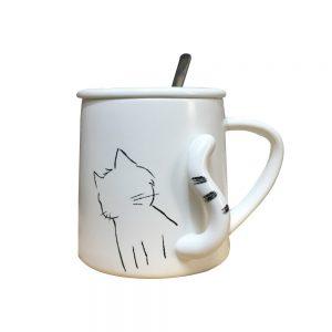 Cana pisica 3D Lucky ceramica alba cu lingurita si capac