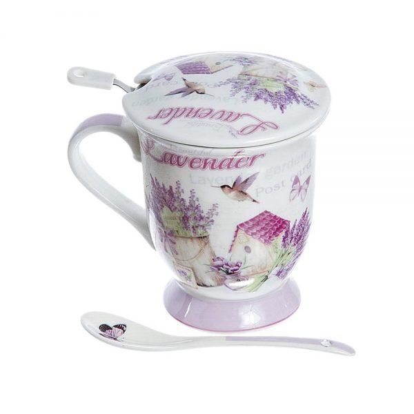 Cana lavanda Provence portelan cana ceai cu infuzor metal