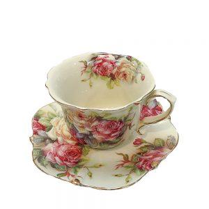 Serviciu cafea Diana vintage elegant 2 cesti si farfurioare portelan