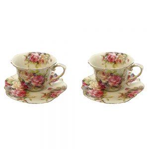 Serviciu cafea vintage Valerie trandafiri set 2 cesti cu farfurioare