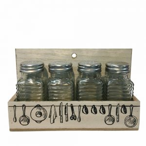 Set 4 borcane condimente Spice recipiente bucatarie in suport lemn