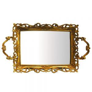 Tava cu oglinda Epoque auriu antichizat 40x25cm decor vintage