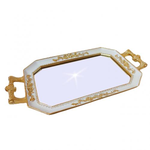 Tava oglinda Antique alb - auriu antichizat 38x21cm