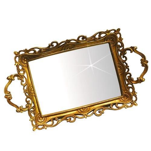 Tava oglinda Epoque auriu antichizat 40x25cm