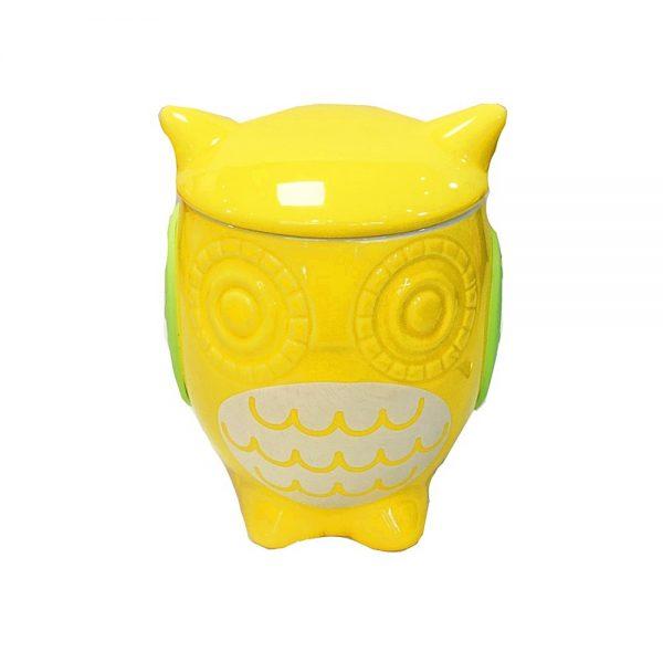 Cana cu bufnita Candy Owl bomboniera cu capac ceramica