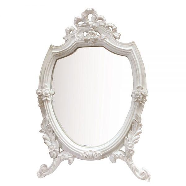 Oglinda vintage alb antichizat Magic Touch 22x33cm oglinda machiaj