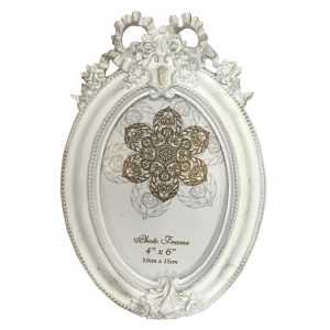 Rama foto vintage Antique ovala alb antichizat 10x15cm cadou elegant