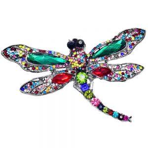Brosa libelula cristale colorate Victoria 11cm pandantiv elegant