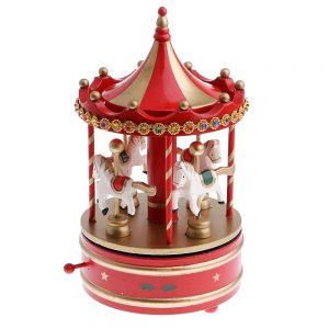 Carusel muzical rosuauriu Merry-Go-Round 13x25cm cadou Craciun