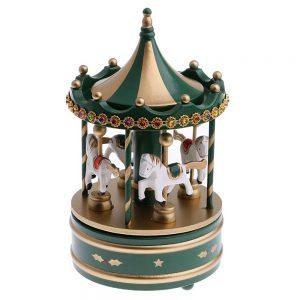 Carusel muzical verdeauriu Merry-Go-Round 13x25cm cadou Craciun