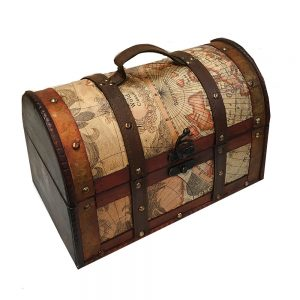 Cufar lemn vintage Travel 30x18.5x18.5cm valiza retro cu maner