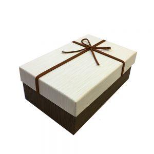Cutie de cadou eleganta Majestic 23x16x9cm maroalb cu fundita