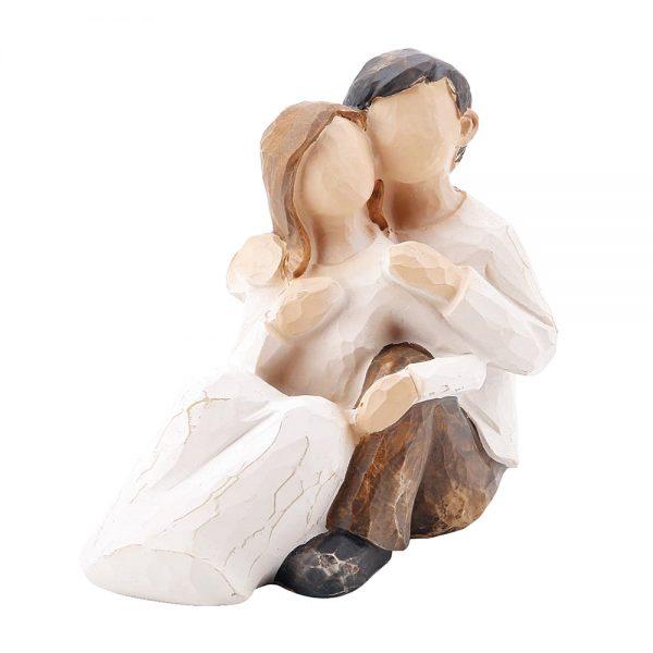 Figurina decorativa cuplu indragostiti Peaceful 10cm statueta rasina