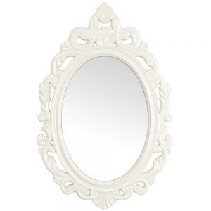 Oglinda alba mireasa Romantic Home 39x59cm rama ovala