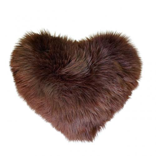 Perna decorativa inima Fluffy maro 40x40cm