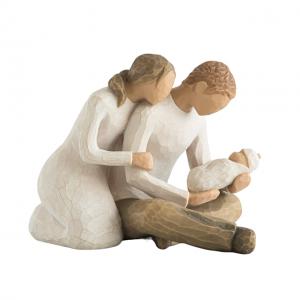 Statueta cuplu cu copil Family Touch 10x12cm