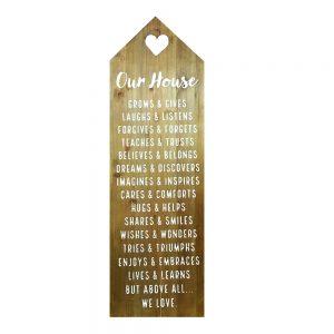 Tablou text House Rules 30x90cm lemn