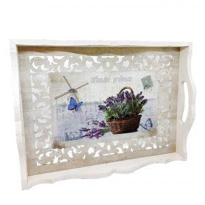 Tava lemn Lavender Bouquet 36x27x5.5cm