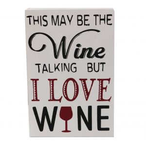 Text motivational Talking Wine lemn 13x2x18cm decor perete