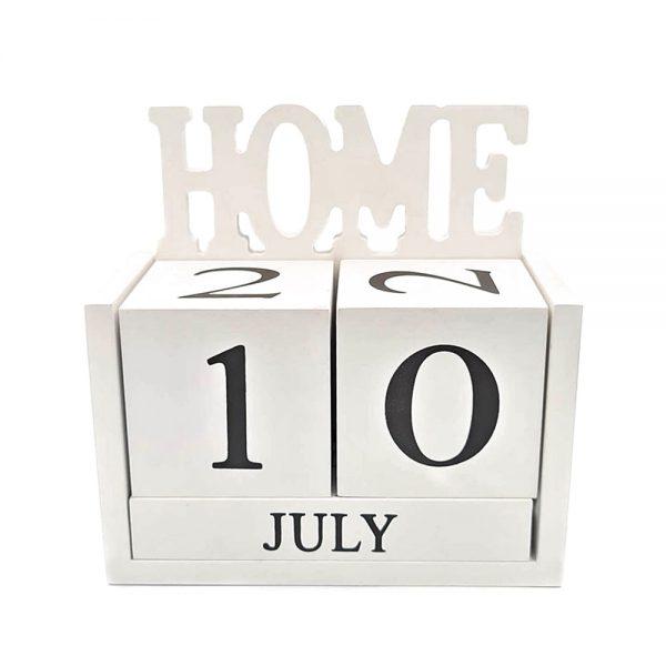 Calendar lemn Gregory Home alb retro
