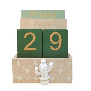 Calendar lemn vintage perpetuu Arizona 11x6x14cm decor de birou