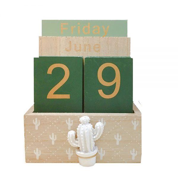 Calendar lemn perpetuu Arizona 11x6x14cm