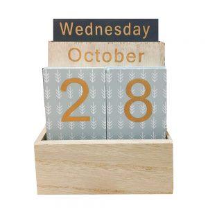 Calendar lemn vintage perpetuu Edward 11x6x14cm decor de birou
