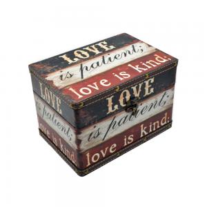Cufar lemn vintage Love 22x16x15cm cutie depozitare bijuterii