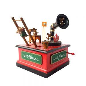 Cutie muzicala cadou Craciun Magic 12.5x17cm decoratiune lemn