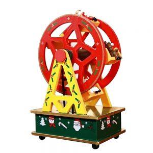 Cutie muzicala cadou Craciun Magic Wheel 14x10x20cm decor lemn