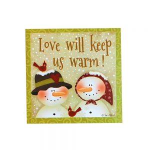 Decoratiune Christmas Love lemn 10x10x4cm cadou Craciun