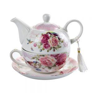 Set ceai pentru 1 persoana Valerie trandafiri, 3 piese