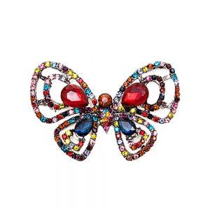 Brosa fluture multicolor Caroline metal argintiu