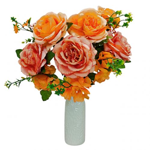 Buchet trandafiri artificiali portocalii Candice 45cm