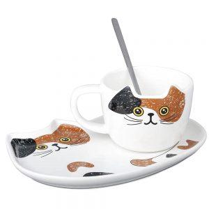 Ceasca pisica Louie cu farfurie ceramica